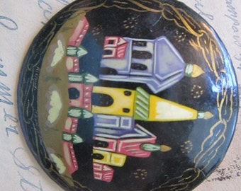 vintage lacquered pin - hand painted scene