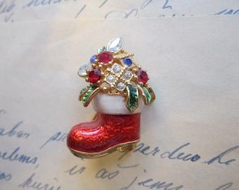 vintage holiday brooch - Santa's Boot with rhinestones - Christmas brooch