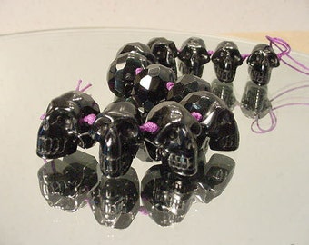 Carved Obsidian Skull Focal Bead, Drilled, Faceted Crainium 21mm 13t87