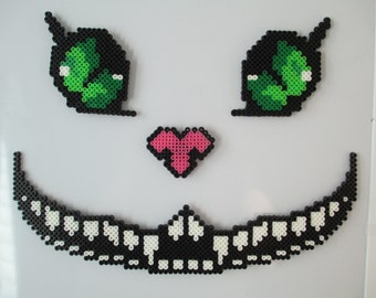 The chesire Cat, alice in wonderland, chesire cat, anime, cartoon, alice, cat, perler beads, perler art, nerdy gifts, geeky gifts, nerdy,