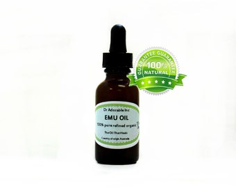 1.1 oz Emu Oil 100% Pure Fresh From Australia with glass dropper