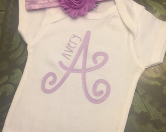 Curly initial and personalized name onesie
