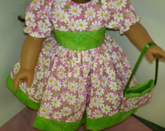 """18"""" American Made Girl Doll Clothes Pink N Daisy with Green Doll Dress fits 18 inch dolls"""