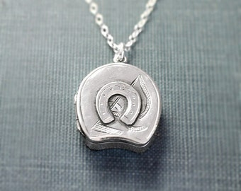 Antique Sterling Silver Locket Necklace, Over 100 Year Old Birmingham Horseshoe and Mallet Polo Pendant - Equestrian
