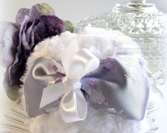 Lavender and White Powder Puff - lilac satin brocade - large bath pouf - gift box option - by Bonny Bubbles