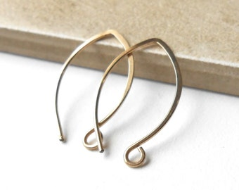 Gold filled almond ear wires, fifteen pair, bulk price, gold earwires