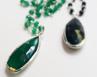 Long Luxury Rosary Style Necklace / Gemstone Chain / Large Bezelled Green or Black Onyx Pendant / Large Gemstone Pendant