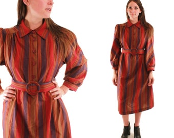 INDIE 70s Bold Earthy Striped Belted Slouchy Rust Purple Red Long Sleeve Chic Glam Hip Day Dress Medium M Vintage Sears