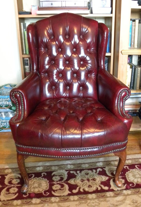 Vintage chair with tufted buttons faux leather lounge office chair