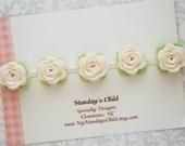 Felt Flower Crown, Baby Flower Crown, Felt Flower Garland, Felt Flower Headband, Ivory Flower Garland, Newborn/Toddler/Baby Headband
