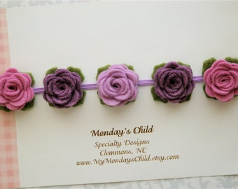 Felt Flower Crown, Baby Flower Crown, Felt Flower Headband, Purple Flower Crown, Baby Headband, Toddler Headband, Newborn Headband