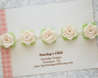 Felt Flower Crown, Baby Flower Crown, Felt Flower Garland, Felt Flower Headband, Ivory Flower Garland, Newborn/Toddler/Baby Headband