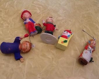 Set of 5 Vintage Christmas Tree Ornaments Retro Children Hong Kong