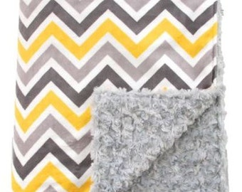 Yellow and Grey Multi Chevron Minky and Grey Minky Throw Lap Blanket or Lovey - Custom Made, Baby Blanket, Custom Blanket