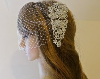 Rhinestone  Bridal Veil,  Wedding  Rhinestone Headpiece, Bridal Bandeau Veil, Wedding Bridal Veil
