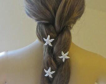 Rhinestone Starfish Bobby Pins, Beach Wedding, Bridal Hair Accessory, Hair Clips, Destination Wedding, Starfish Hair Pins,Bridesmaid Gift