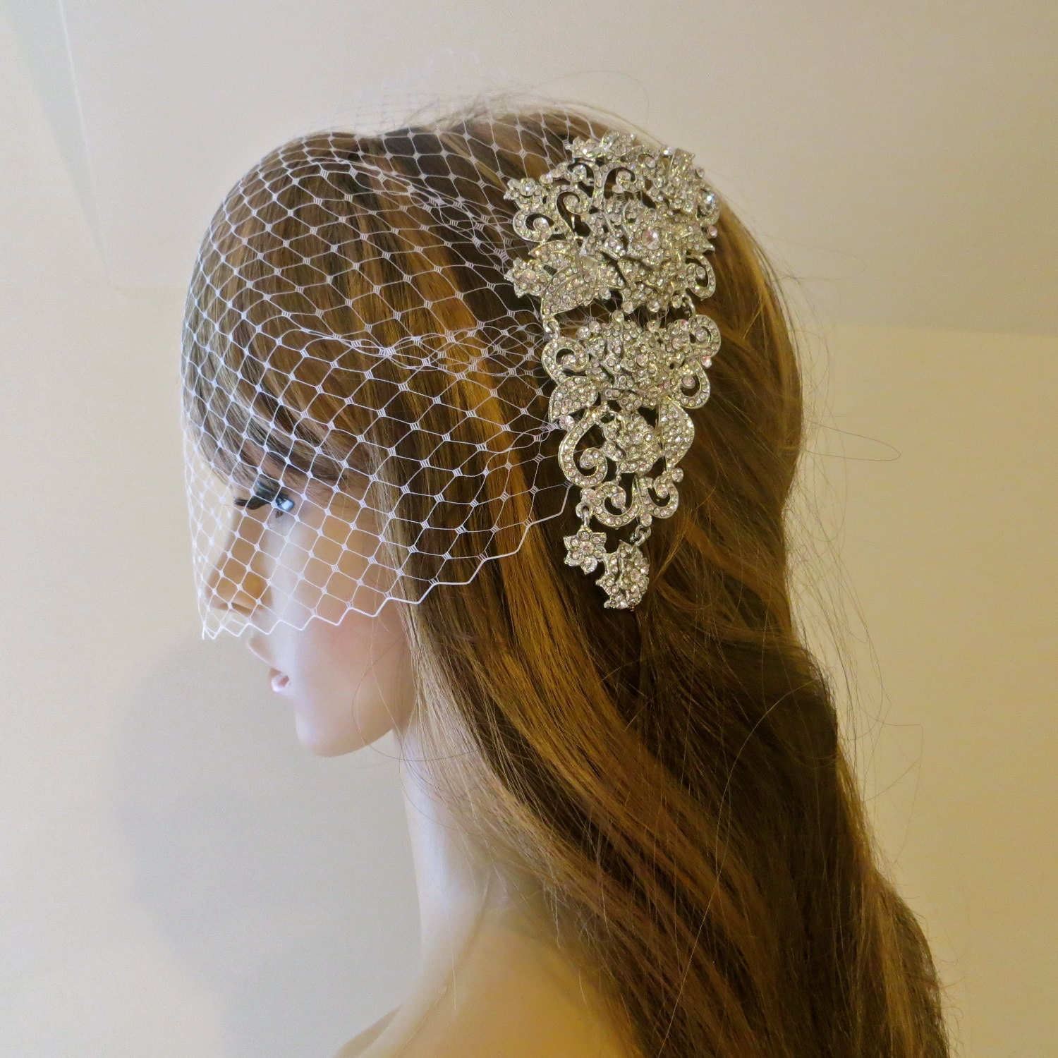 Rhinestone Bridal Veil Wedding Rhinestone Headpiece by ctroum