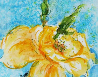 Yellow Rose Flower WAS 25 now 20 bright sunny cheerful blossom - flower art gift - ORIGINAL watercolour by CheyAnne Sexton lemon yellow