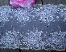 "8 1/2"" (20.5 cm) Wide Gray White Blue Floral Stretch Lace Grey Roses Pattern Edwardian Inspired for Lingerie Sewing Table Runner Decor FJT3"