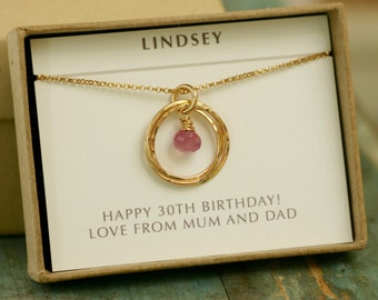 30th birthday gift, pink sapphire necklace gold, September birthstone necklace for daughter in law gift - Lilia
