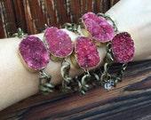 Rasberry Druzy Bracelet/ Chain Bracelet/Natura Gem Stone/ Quartz Crystal Bracelet/ Stone Bracelet/ Druzy Jewelry/ Statement Bracelet