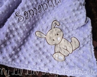 Personalized baby blanket-bunny baby blanket- lavender and brown with tan- 30x35 stroller blanket- name baby blanket