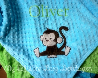 Personalized baby blanket with name- monkey baby blanket- Lime green and turquoise monkey- stroller or toddler blanket