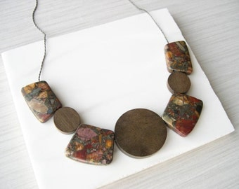 Bib Necklace, Stone, Brown Jasper Jewelry, Wood Anniversary Gift, Rust, Orange, Pyrite, Grey, Multicolor, Unusual, Chunky, Fall Colors