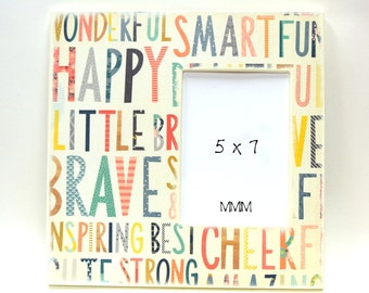 Happy, Little Brave 12 x 12 Picture Frame, 5 x 7 Photo Frame, Smart, Fun, Strong, Wonderful, Table top picture frames, Kids room Decor, Bold