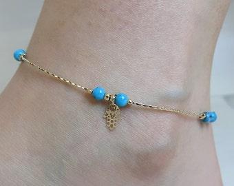 gold anklet, turquoise anklet, charm anklet, anklet bracelet, hamsa anklet, foot jewelry, chain anklet, anklet jewelry, beach anklet