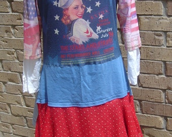 Romantic Artistic Recycled Junk Gypsy Funky Shabby Tunic/Dress - Size Large