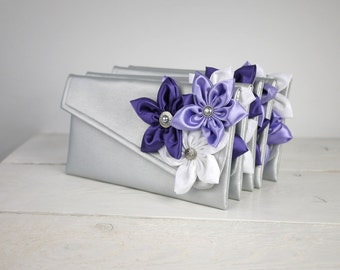 Bridesmaid Gift Set |  Personalized Clutches in your choice of colors