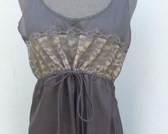 Vintage long Sher Black Chiffon Nightgown -- Sears Roebuck / Size 34
