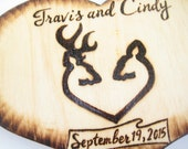 DEER cake topper -Buck and Doe, Hunting, Country, Wood Heart, Silhouette, Rustic, Camo Wedding Decorations -Couple Custom