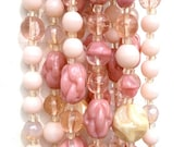 Vintage 1950's Pink 5 Strand Beaded Choker Necklace Easter Spring Summer Wedding Tea Party Mad Men
