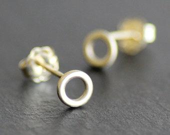 14K Solid Gold 5mm Circle Earrings - Post /Stud Earrings