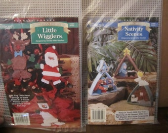 DESTASH /// two plastic canvas Kits, Santa and Friends, Nativity, Craft projects, needle point