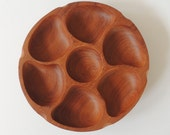 Mid century Danish teak serving bowl with lazy susan turns
