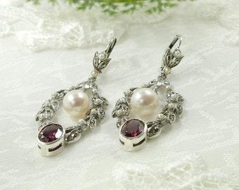 Vintage marcasite earrings with rhodolite and freshwater pearl || ЖЕМЧУГ