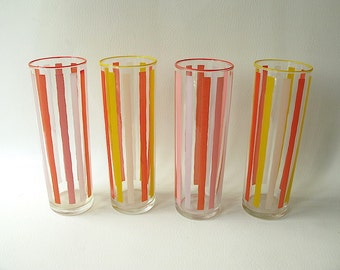 Vintage Striped Drinking Glasses, Tumbler, Tall, Pink Coral,