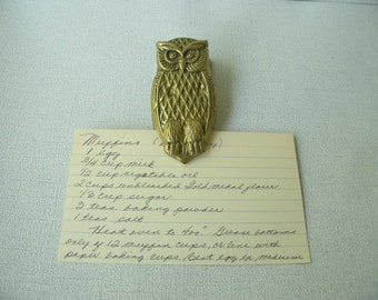 Vintage Brass Owl, Memo Clip, holder