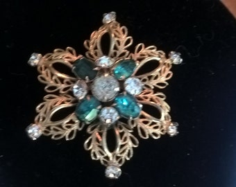 Beautiful aqua vintage brooch