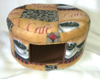 Medium Custom Cozy Bed for ferrets and small animals - Brown Coffee Theme
