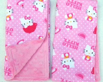 "Burp Towels - Hello Kitty on Pink Flannel with Light Pink Dimple Minky set of Two, 7.5"" X 17.5"""