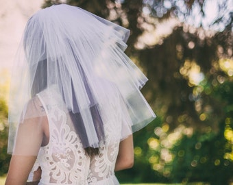 White Party Veil, Bachelorette Veil, Three Tiered Veil, Girls night out veil, Party Veil - WITH BOW