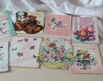 18  1940s Vintage Cards Bluebirds  Fairies Pastel Flowers Nature Pets Get Well Cards for Scrap