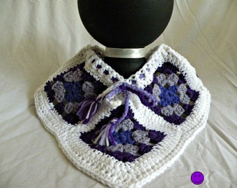 Baby Poncho, Purple and White, Crocheted, 3-4 Months Size, Baby Boho