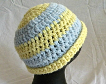 Infant Hat, Crocheted, Butter Cream Yellow and Baby Blue, NB-3 Months Size, Going Home Hat, Baby Beanie
