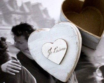 Rustic Wedding Ring Box Ring Bearers Pillow Wedding Ring Box Engagement Ring Box Heart  Box Je t'aime Wedding Accessory  Oui Paris Wedding
