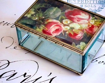 Brass and Glass Vintage Jewelry Box Glass Jewelry Box Brass Jewelry Box Floral Jewelry Box Red Pink Roses Trinket Box Mothers Day Gift